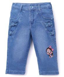 Chhota Bheem Full Length Jeans Chutki Embroidery - Blue