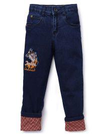 Chhota Bheem Full Length Jeans Techno Kid Embroidery - Dark Blue
