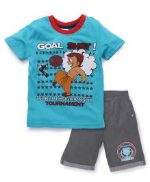 Chhota Bheem Half Sleeves T-Shirt And Shorts Goal Shot - Blue & Grey