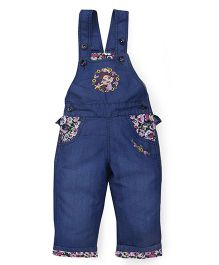 Chhota Bheem Denim Dungaree Chutki Embroidery - Blue
