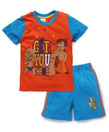 Chhota Bheem Half Sleeves T-Shirt And Shorts Get You There - Orange & Blue