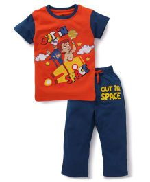 Chhota Bheem Half Sleeves T-Shirt And Drawstring Pant Space Print - Orange & Blue