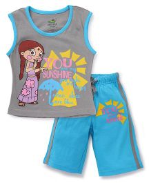 Chhota Bheem Sleeveless Night Suit Printed - Blue & Grey