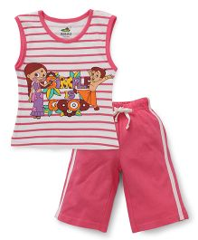 Chhota Bheem Sleeveless Night Suit Simple Is Good Print - Multicolor