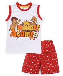 Chhota Bheem Sleeveless Suit Printed - White And Red