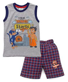 Chhota Bheem Sleeveless Tee & Checks Shorts - Grey