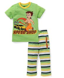 Chhota Bheem Half Sleeves Night Suit - Green & Multicolor