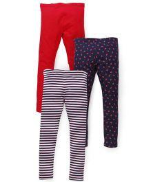 Mothercare Leggings Multi Print Pack of 3 - Red Blue