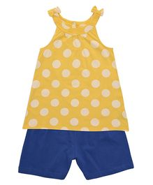 Mothercare Sleeveless Top & Shorts Polka Dots - Yellow & Royal Blue