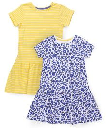 Mothercare Short Sleeves Frock Multi Print Pack Of 2 - Yellow Blue