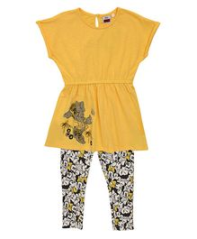 Mothercare Cap Sleeves Tunic & Leggings Minnie Mouse Print - Yellow