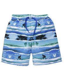 Mothercare Swimming Trunks With Drawstrings Surfer Print - Blue