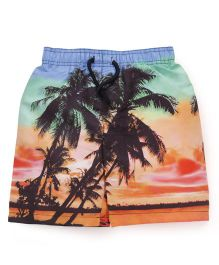 Mothercare Swimming Trunks Sunset And Palm Tree Print - Multicolor