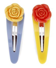 Mothercare Snap Clips With Floral Design Pack Of 2 - Blue Yellow Red