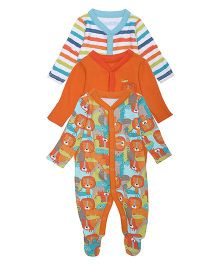Mothercare Full Sleeves Sleepsuits Set Of 3 - Orange Multi Color