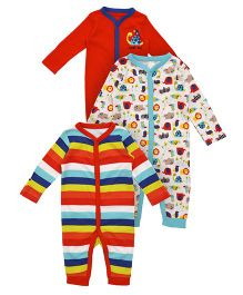 Mothercare Full Sleeves Sleepsuit Pack Of 3 - Multicolor