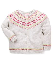 Mothercare Full Sleeves Designer Cardigan Sweater - Off White