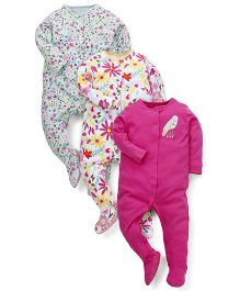 Mothercare Full Sleeves Printed And Solid Color - White Pink Blue
