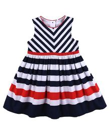 Mothercare Sleeveless Striped Frock - Navy Blue