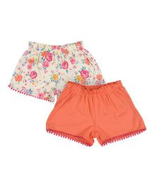 Mothercare Solid Color And Floral Print Shorts Set Of 2 - Cream Orange