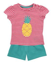 Mothercare Half Sleeves Striped T-Shirt And Shorts Set - Pink