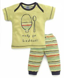 Mini Taurus Half Sleeves Ready For Breakfast Print Night Suits - Green