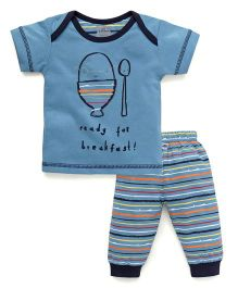 Mini Taurus Half Sleeves Ready For Breakfast Print Night Suits - Light Blue