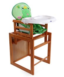 Mee Mee Wooden High Chair Froggy Design - Light Brown Green