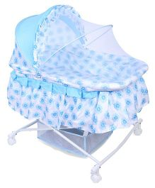Floral Print Baby Cradle With Mosquito Net - Blue White