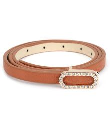 Kid-o-nation Leather Belt With Diamond Studded Buckle - Brown