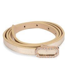 Kid-o-nation Leather Belt With Diamond Studded Buckle - Golden