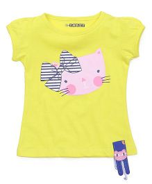 E-Todzz Short Sleeves Top Cat Print - Yellow