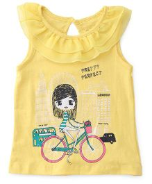 E-Todzz  Sleeveless Printed Top - Yellow