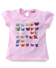 E-Todzz Short Sleeves Top Butterfly Print - Pink