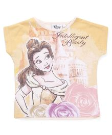 Chemistry Short Sleeves Top Princess Belle Print - Yellow