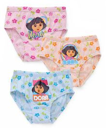 Dora With Floral Print Panties Set Of 3 - Blue Peach Pink