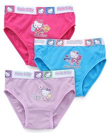 Hello Kitty Printed Panties Set Of 3 - Purple Blue Pink