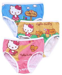 Hello Kitty Panties Printed Set Of 3 - Blue Yellow Pink