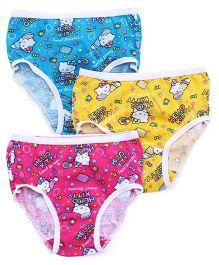 Hello Kitty Panties Printed Set Of 3 - Blue Yellow Dark Pink