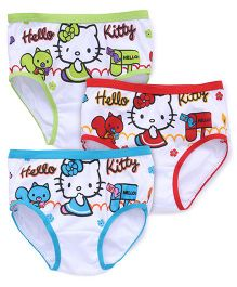 Hello Kitty Printed Panties Set Of 3 - Red Blue Green