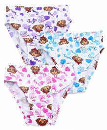 Dora Panties Printed Set Of 3 - White Purple Blue Pink