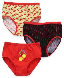 Red Rose Printed Panties Set of 3 - Red Black Yellow