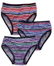 Red Rose Stripes Print Panties Set of 3 - Purple Blue Red