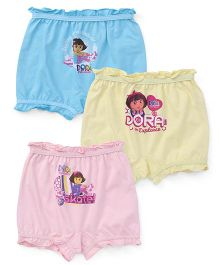 Dora Bloomers Pack of 3 - Sky Blue Yellow Pink