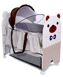 Baby Cradle With Mosquito Net - White Brown