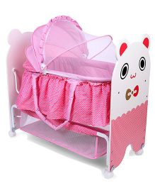 Baby Cradle With Mosquito Net - White Pink