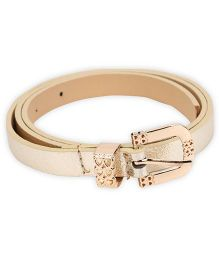 Kid-o-nation Girls Leather Belt With Golden Glossy Buckle - Golden