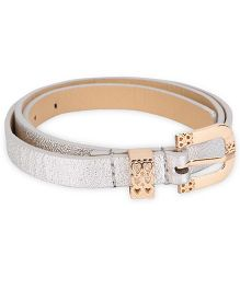Kid-o-nation Girls Leather Belt With Golden Glossy Buckle - Silver