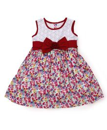 Happy Face Sleeveless Bow Applique Dress - Maroon