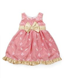 Happy Face Sleeveless A Line Dress Bow Detail - Pink